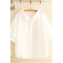 Leisure Womens Solid Color 3/4 Sleeve Point Collar Button up Loose Fit Shirt Top