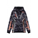 Anime Cosplay Geometric Pattern Contrasted Long Sleeve Zip up Drawstring Relaxed Hoodie in Black