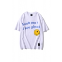 Mens Unique Smiley Face Letter I See Ghost Print Crew Neck Short Sleeve Loose Fitted Graphic T-Shirt