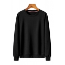 Basic Solid Color Pullover Long Sleeve Round Neck Regular Fitted Sweatshirt for Men