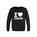 Trendy Mens Heart Letter I Love Dance Printed Long Sleeve Round Neck Regular Fitted Graphic Pullover Sweatshirt