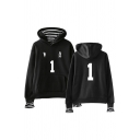 Trendy Womens Number 2 Footprint Stripe Graphic Long Sleeve Pouch Pocket Relaxed Hoodie