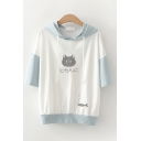 Cute Girls Japanese Letter Cartoon Cat Fish Embroidered Contrasted Half Sleeve Drawstring Hooded Loose T Shirt