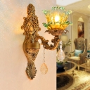 Floral Ruffle Glass Wall Lighting Idea Mid-Century 1 Bulb Corner Wall Mounted Lamp in Brass