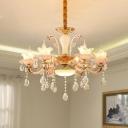 Crystal Flower Shade Chandelier Light Fixture Mid Century 6 Lights Gold Ceiling Suspension Lamp