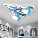 Fighter Jet Boy's Room Ceiling Flush Acrylic Kids Style LED Flush Mount Lighting in Blue
