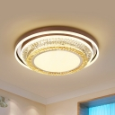 Layered Round Crystal Ceiling Flush Mount Minimalist Living Room LED Flushmount Lighting in White