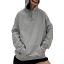 Casual Girls Letter Embroidered Long Sleeve Drawstring Loose Fit Hoodie with Pocket