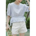 Cute Womens Solid Color Lace Patched Puff Sleeve Round Neck Ruffled Hem Bow Tied Waist Relaxed Shirt Top