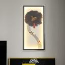 Brush Painting Lotus Wall Lamp Chinese Metallic Black LED Wall Mount Mural Light