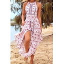 Ethnic Womens Ditsy Flower Pattern Sleeveless Crew Neck Backless Slit Front Maxi Flowy Dress in Pink