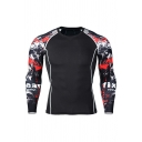 Cool Abstract Printed Round Neck Long Sleeve Slim Fitted Graphic Tee Top for Men