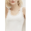 Hot Solid Color Lace Trimmed Scoop Neck Slim Fit Tank Top for Women