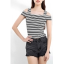 Chic Girls Stripe Print Short Sleeves Cold Shoulder Knitted Fit T Shirt in Black