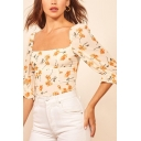 Pretty Womens Allover Floral Printed Ruffled 3/4 Sleeve Square Neck Fitted T Shirt in Beige