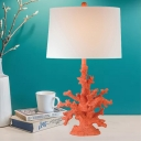 White Drum Shade Table Lighting Traditional Fabric 1 Head Bedroom Desk Lamp with Red/Green Coral Base