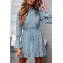 Pretty Womens Ditsy Floral Print Bell Long Sleeve Stringy Selvedge Mock Neck Drawstring Waist Ruffled Short Pleated A-line Dress in Blue