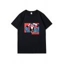 Cartoon Girl Letter Graphic Short Sleeve Crew Neck Oversize Popular T-shirt for Men