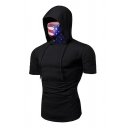 Sportive Men's Solid Color Drawstring Hooded Short Sleeve Slim Fit T-Shirt with Mask
