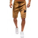Mens Stylish Drawstring Patchwork Crinkled Knee-length Fitted Shorts with Pockets