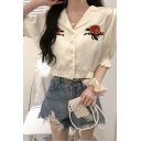 Chic Womens Rose Embroidered Puff Sleeve Lapel Neck Fabric Button down Elastic Hem Relaxed Shirt Top in White