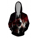 Stylish 3D Abstract Galaxy Pattern Zipper up Pocket Drawstring Long Sleeve Fitted Hoodie for Men