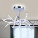 Waving Linear Chandelier Lighting Modernist Crystal Block LED Chrome Ceiling Hang Fixture