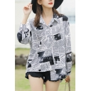 Girls Fashion Newspaper Print Long Sleeve Spread Collar Button down Loose Fit Shirt