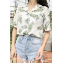 Trendy Womens All over Leaf Printed Short Sleeve Notched Collar Button dwon Loose Shirt in White