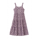 Elegant Womens Floral Printed Button Zip Side Detail Pleated Tiered Square Neck Sleeveless Midi Cami Dress in Purple