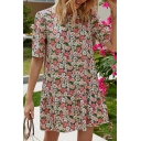 Trendy Womens Allover Floral Print Short Sleeve Crew Neck Ruffled Short A-line Dress in Pink