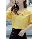 Fancy Girls Contrast Piped Bell Short Sleeve Peter Pan Collar Button down Relaxed Shirt