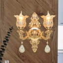 2 Light Wall Mount Lighting Mid Century Flower Amber Crystal Glass Wall Lamp in Gold