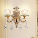Clear Crystal Glass Flower Wall Mounted Lamp Traditional 2 Bulbs Bedside Wall Lighting in Gold