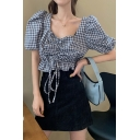 Chic Womens Plaid Pleated Ruched Drawstring Ruffle Cuff Square Neck Short Puff Sleeve Slim Fit Crop Blouse Top in Black