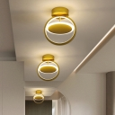 Gold Crossed Circle Flush Light Postmodern Metal LED Close to Ceiling Lamp in Warm/White Light