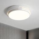 White Round Flush Ceiling Light Simplicity LED Iron Flushmount Lighting in Warm/White Light