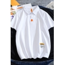 Unique Men's Polo Shirt Letters Pattern Button Point Collar Short Sleeve Relaxed Polo Shirt