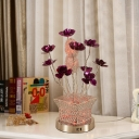 Silver LED Nightstand Light Art Deco Aluminum Wire Potted Plant Table Lamp with Purple Florets Detail