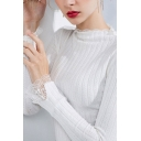 Chic Ladies Lace Trim Knitted Long Sleeve Mock Neck Slim Fitted T Shirt in White