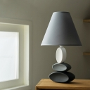 Cone Fabric Shade Nightstand Light Creative 1 Light Bedroom Table Lamp in Grey with Stacked Oval Ceramics Base