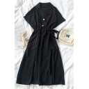 Trendy Girls Solid Color Ruched Drawstring Side Button Pockets Lapel Neck Short Sleeve Midi A Line Dress