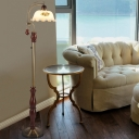 1-Light Floor Standing Light Countryside Flower Printed Glass Floor Lamp in Brown