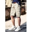 Casual Cargo Shorts Solid Color Flap Pocket Drawstring Zipper Mid Rise Regular Fitted Cargo Shorts for Men