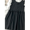 Boutique Girls Solid Color Pleated Patchwork Ruffle Trim Sleeveless V Neck Mini Smock Dress