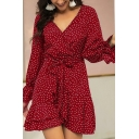 Burgundy Chic Polka Dot Print Ruffle Detail Open Back Tie Waist High Rise V Neck Long Sleeve Mini A-Line Dress for Women