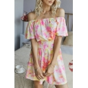 Fancy Womens Tie Dye Ruched Open Back Gathered Waist Off the Shoulder Short Sleeve Mini A-Line Dress