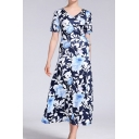 Formal Womens All over Leaf Printed Short Sleeve V-neck Drawstring Side Maxi Wrap Dress