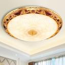 Lotus Patterned Glass Bowl Flushmount Traditional 12.5