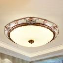 Brown Domed Shade Flush Light Countryside White Glass LED Bedroom Flush Mount Fixture, 14
